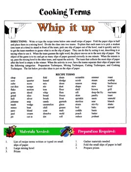 Cooking Terms Game / Activity
