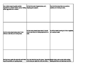 Cooking Terms Memory Match Review Game
