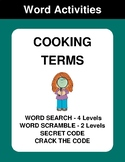 Cooking Terms - Word Search, Word Scramble,  Secret Code,  Crack the Code
