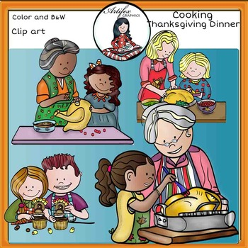Cooking Thanksgiving dinner- Color and B&W-