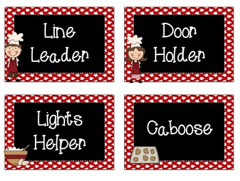 Classroom Jobs: Cooking Theme EDITABLE