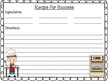Writing Bulletin Board Activity Set: Cooking Themed