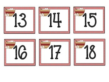 Cubby/Calendar Numbers: Cooking Themed
