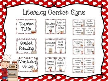 Literacy Center Signs: Cooking Themed