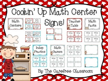 Cooking Themed Math Center Signs
