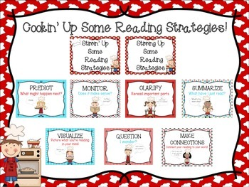 Reading Strategy Posters: Cooking Themed