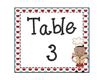 Table Signs, Desk Tags, and Labels: Cooking Themed