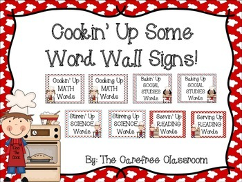 Cooking Themed Word Wall Signs