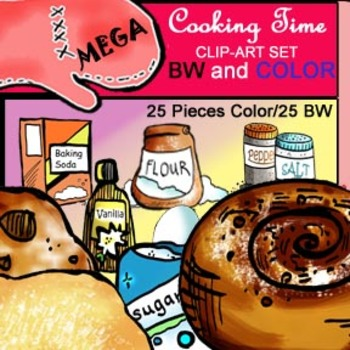 Cooking Time! 25 Piece Color and B&W Clip-Art Set!