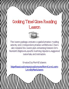 Cooking Time! Close Reading Lesson