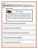 Cooking Turkey Writing and Reading Comprehension Combo