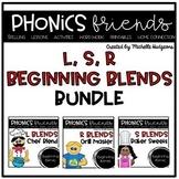 Blends L blends, R blends, S blends: Beginning Blends Phonics Friends BUNDLE