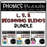 Blends L blends, R blends, S blends: Beginning Blends Phonics Friends BUNDLE