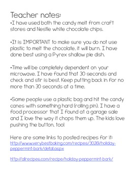 Picture Symbols Recipe-Peppermint Bark