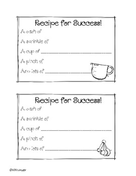 Cooking Up a Great Year- Craft and Writing Templates