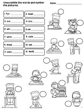 Cooking Verbs - Task cards, activities and worksheets ESL