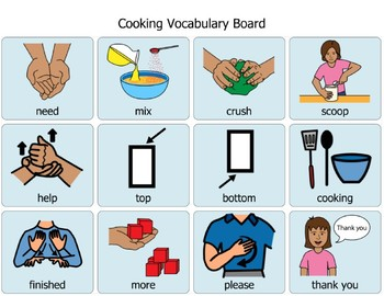 Cooking Vocabulary Communication Board By Spectacular Sdc