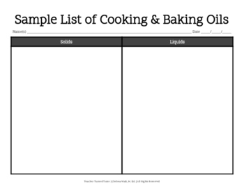 Cooking and Baking Oils Comparison Chart