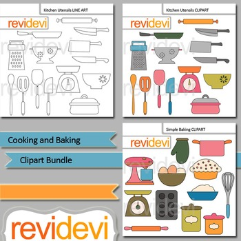 Cooking and Baking clip art bundle (3 packs)