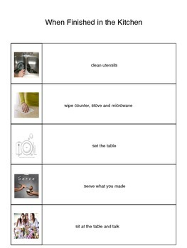 Cooking and Clean Up Visual Schedule