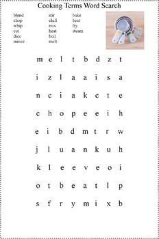Food and Cooking Related Word Searches- Cooking with Kids Resource