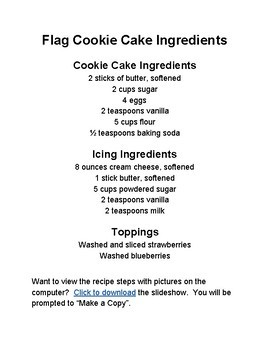 Cooking and Learning in the Kitchen: Flag Cookie Cake