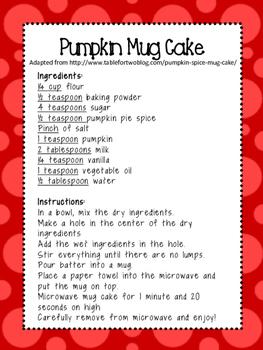 Cooking in the Classroom: Pumpkin Spice Mug Cake!