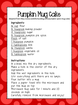 Cooking in the Classroom: Pumpkin Spice Mug Cake!