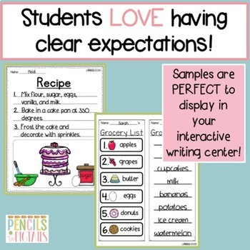 Cooking in the Kitchen - Writing Practice - Word Cards, Menus, Lists, & Recipes!
