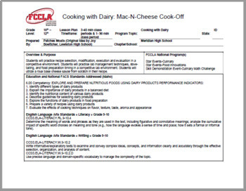 Cooking with Dairy Unit: Mac-N-Cheese Cook-off