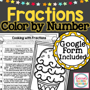 Cooking with Fractions Color By Solution