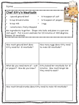 Cooking with Kitty-Recipes and Questions-Math and Literacy