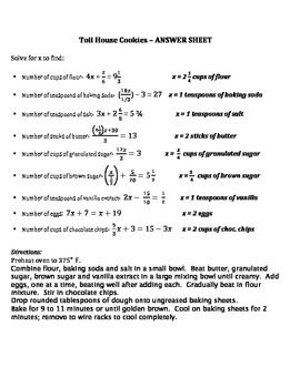 Cooking with Math - Algebra sample