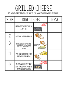 Cooking with a Toaster Oven:5 Visual Recipes for SpED Classroom