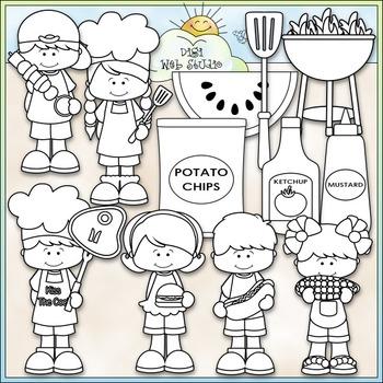 Cookout Fun Clip Art - BBQ Clip Art - Grilling Out - CU Clip Art & B&W