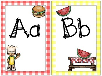 Cookout Themed Alphabet and Word Wall Title Signs