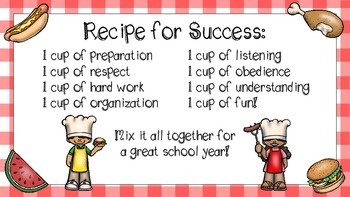"Cookout Themed ""Recipe for Success"" Classroom Rules Poster"