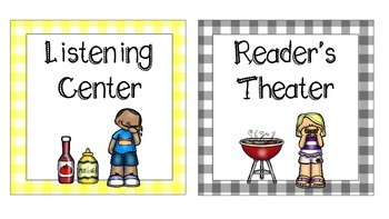 Cookout Themed Table, Group, and Literacy Center Signs