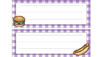 Cookout Themed with Gingham Name Plates for Desks