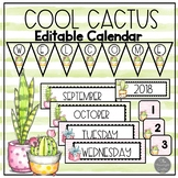 Cool Cactus EDITABLE Classroom Calendar-Bunting-Signs and Labels