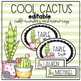 Cool Cactus EDITABLE Table Numbers and Name Plates