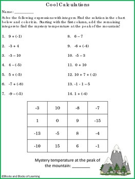 Cool Calculations - Adding and Subtracting Integers (Differentiated Printables)