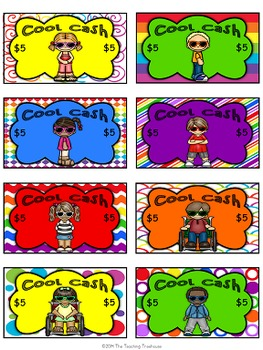 """Kids & Colors"" Cool Cash ~ Behavior Bucks, Classroom Money/Rewards"