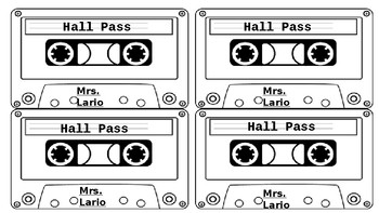 Cool Cassette Hall Pass - Easy to Edit