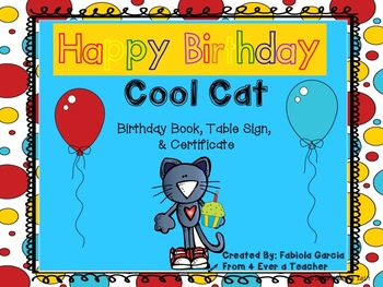 Cool Cat Birthday Book & Certificate