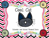 Cool Cat Calendar Pieces and School Themed Items