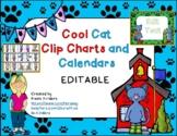 Cool Cat Calendar and Behavior Clip Chart Bundle EDITABLE 2020-2021
