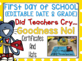 Cool Cat First Day of School Certificates and Hat {EDITABLE}