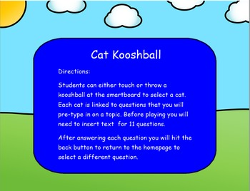Cool Cat Kooshball Game for the SMARTboard