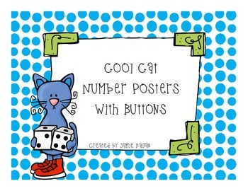 """""""Cool Cat"""" Number Posters- Buttons"""
